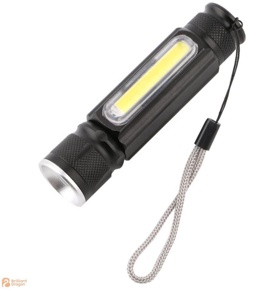3W COB + 1PC T6 Rechargeable Multi-used Aluminum Flashlight With Light Adjustable Function