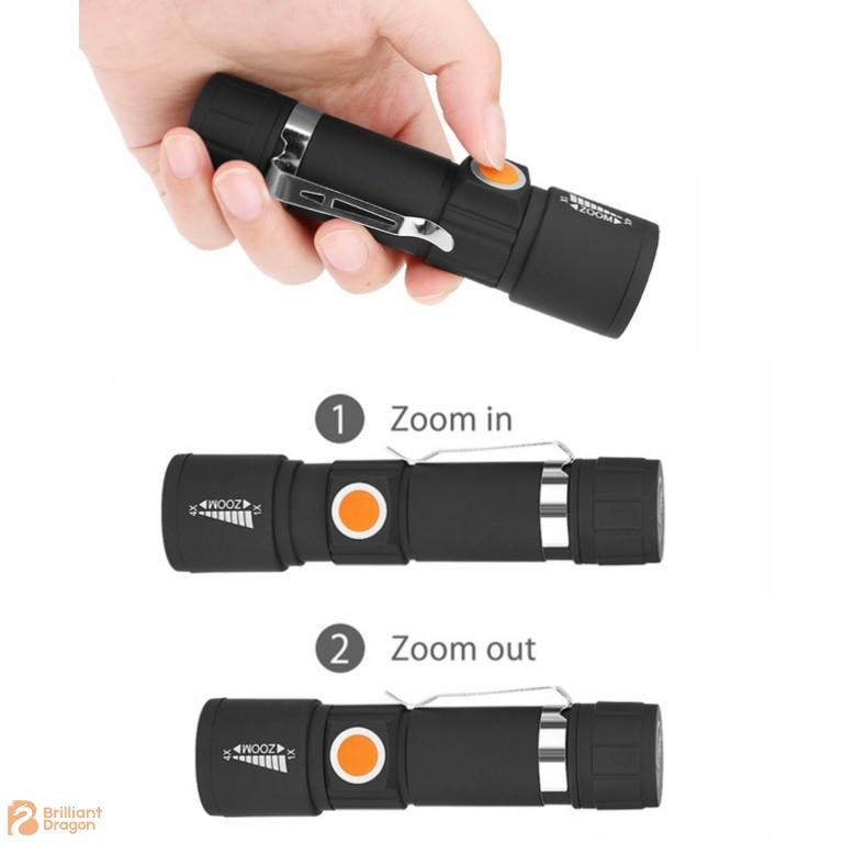 Rechargeable XPE Zooming Adjustable Flashlight with 3 Flash Modes