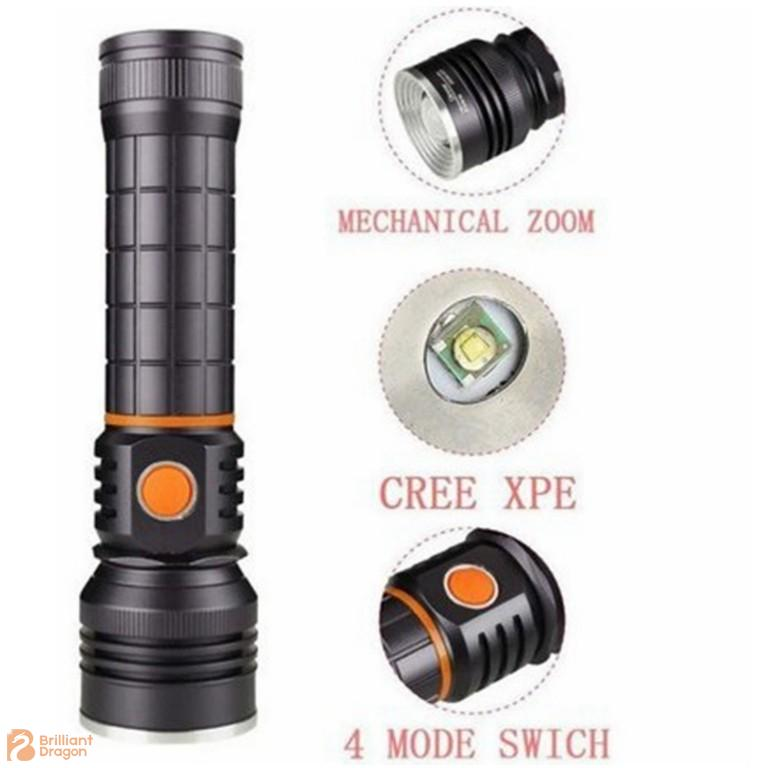 Zooming Adjustable Rechargeable Aluminum XPE and COB Flashlight with Magnet