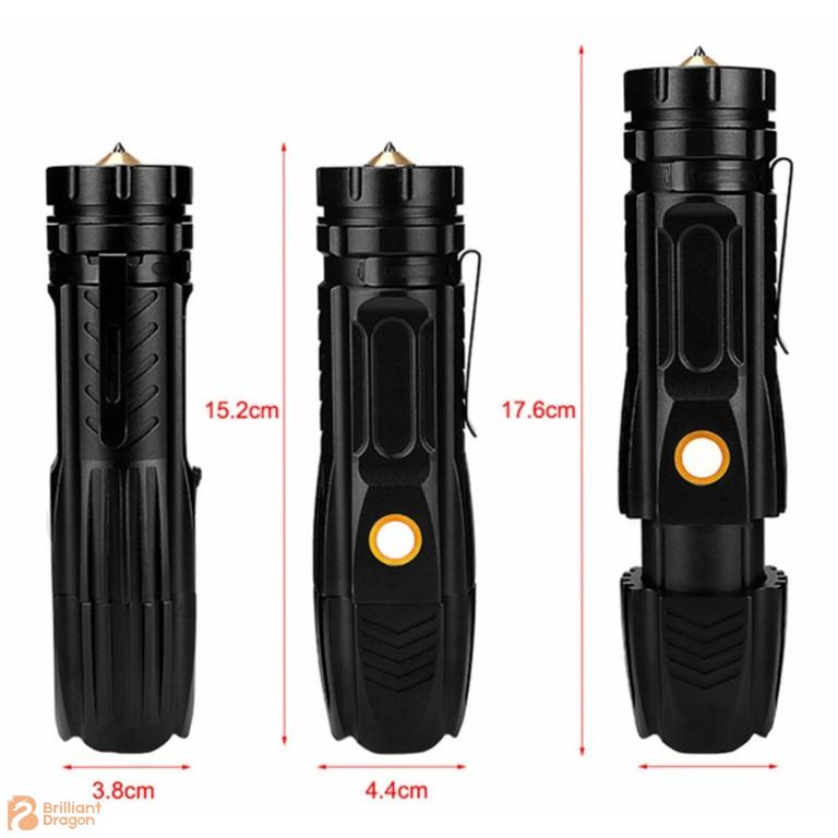 Zooming Rechargeable 26650 Battery Flashlight with Safety Hammer Waterproof IP65